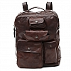MULTIPOCKET FRONT LEATHER BACKPACK IN MORO