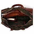 NYLON MILITARE AND COGNAC LEATHER WORK BAG