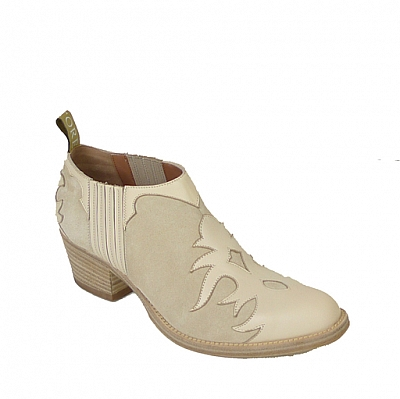 OLYMPIA FLAME OVERLAY SHOE BOOT IN DOVE WHITE