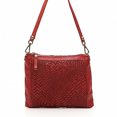 OPTICAL WOVEN LEATHER SMALL CROSSBODY POUCH IN RED