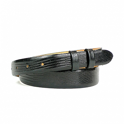 SEMI GLOSS BLACK LIZARD TAPER BELT