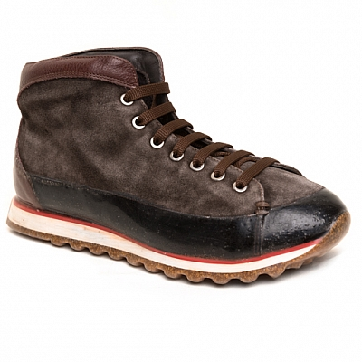 MENS SUEDE MID RUBBER SOLE SNEAKERS IN CHOCOLATE