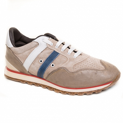 MENS SUEDE RUBBER SOLE SNEAKERS IN LIGHT TAN