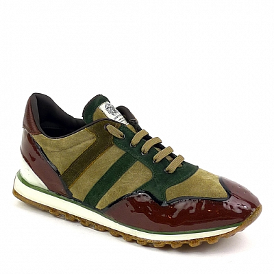 MENS SUEDE RUBBER SOLE SNEAKERS IN TAN, GREEN AND RUST