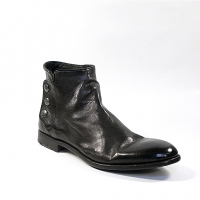 PASCAL TRIPLE SNAP SMOOTH LEATHER SHOE BOOT IN BLACK