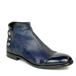 PASCAL TRIPLE SNAP SMOOTH LEATHER SHOE BOOT IN BLUE