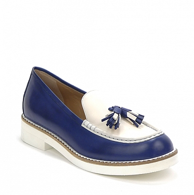 BLUE AND WHITE TASSLE LOAFER