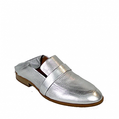 DAPHNE ARGENTO LAMINATE FOLD BACK LOAFER