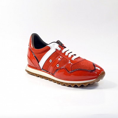 WOMEN'S RUBBER AND SUEDE SNEAKERS IN RED