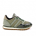 WOMEN'S RUBBER SOLE GREEN SUEDE AND NYLON SNEAKERS