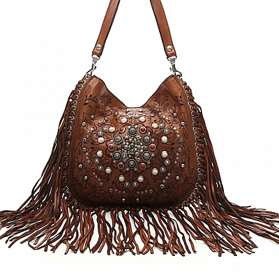 SIENA LEATHER SHOULDER BAG WITH STUDS, STONES AND FRINGE IN COGNAC