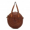 SMALL LACED LEATHER ROUND CROSSBODY IN COGNAC