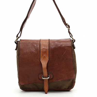 SMALL  LEATHER & CANVAS  LOOP FRONT SHOULDER SATCHEL IN COGNAC