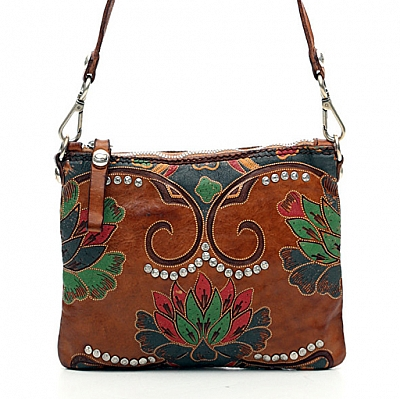 SMALL LEATHER  LOTUS PRINT CROSSBODY POUCH IN COGNAC