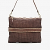 THIN WOVEN POUCH WITH STUDS AND CHARM CHAIN  IN MORO