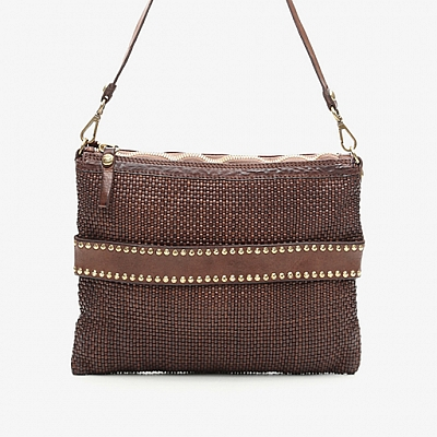 THIN WOVEN POUCH WITH STUDS IN MORO