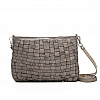 WOVEN MEDIUM CROSSBODY POUCHETTE IN PEARL GREY